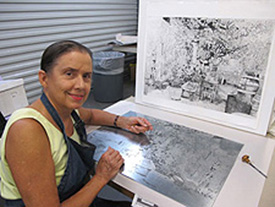 Stephanie engraving the San Francisco Spaghetti Factory