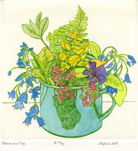flowers in a cup hand colored stephanie scott artist