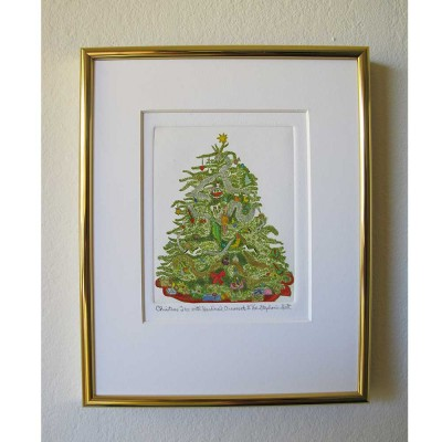 Xmas Tree Limited Edition Hand colored Etching Bevel Mat and Gold Frame