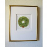 Xmas Wreath - Limited Edition Etching - Gold Frame