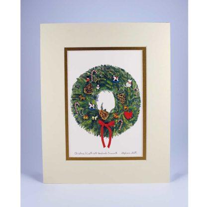 Wreath -Matted Print Cream Outer Mat and Gold Inner Mat