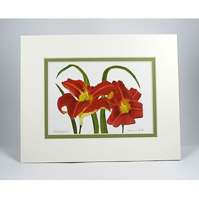 Red-Daylilies,-White.Green Pear