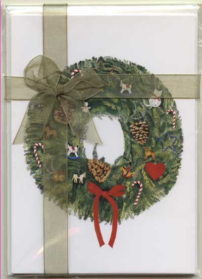 Christmas Wreath Ribbon Note Pack
